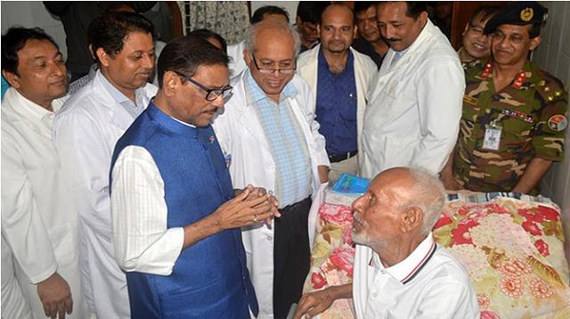 Quader visits ailing actor Shamsuzzaman at BSMMU
