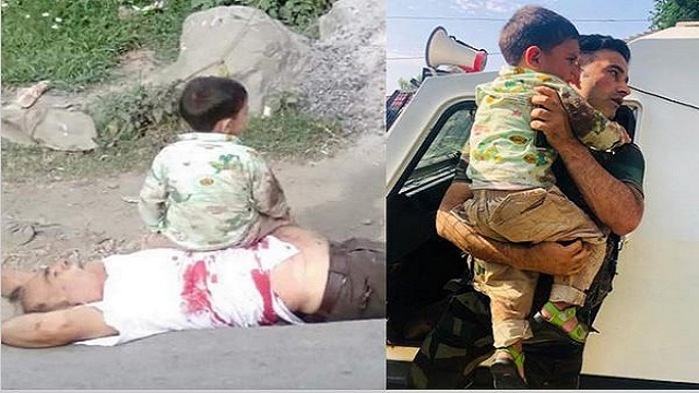 Heartbreaking images show 3-year-old crying over body of grandfather killed in cross-firing